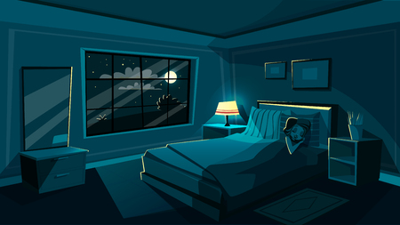 cute young woman sleeping in bedroom at night, cartoon interior. Happy beautiful female character dreaming in cozy room bed with night sky star, moon from big window with soft lamp light.