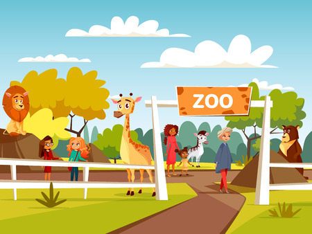 Zoo illustration or petting zoo cartoon design. Open zoo wild animas and visitors family with children interacting with African lion and giraffe, wild bear or zebra in natural area background