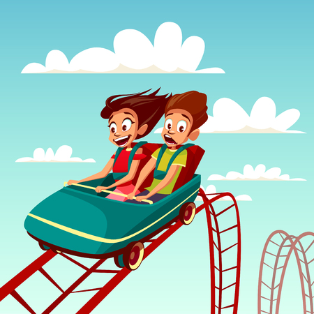 Kids on rollercoaster rides illustration. Boy and girl riding fast on Russian mountains amusement rides, happy laughing or excited scared with open mouth on amusement park background