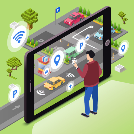 Smart parking illustration. Man user with smartphone touch screen control car driving to parking lot through internet connection of smart technology communication. Isometric cartoon flat design