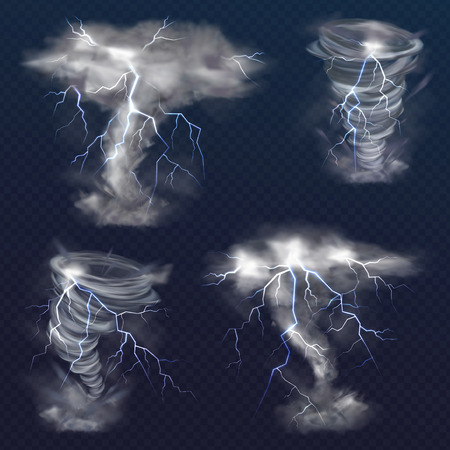 Tornado with lightning vector illustration of realistic thunderbolt light flash in twister hurricane. Wind cyclone vortex in storm weather isolated on transparent background Illustration