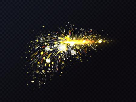 Feuerfunken beim Metallschweißen oder beim Schneiden von Fackeln funkeln. Vektorillustration der Feuerpartikel des Feuerwerks oder der feurigen Explosion des Starburst auf transparentem Hintergrund
