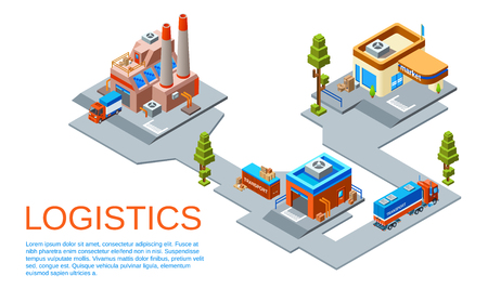 isometric logistics and transportation business concept. Route from goods manufacturing plant to transit warehouse and to the market store provided by cargo trucks of delivery service. Banco de Imagens