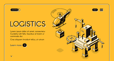 Logistics company vector web banner with helicopter carrying cargo from oil platform isometric line art illustration on yellow background. Air transport or delivery service internet site, landing page