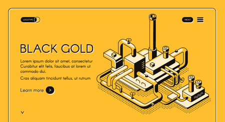 Black gold vector web template or banner with oil refinery plant line art isometric illustration on yellow background. Petroleum production or petrochemical company landing page. Oil industry concept Иллюстрация