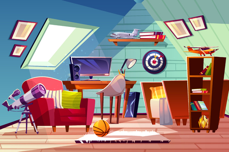 Teen boy kid attic room interior vector illustration. Comfortable bedroom furniture, bookshelf or computer table and armchair with darts board and ball on carpet, telescope at window Illustration