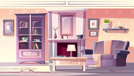 Wohnzimmer-Innenvektorillustration der Wohnung im gemütlichen, komfortablen Stil der französischen Provence. Modernes Möbel Bücherregal, Sessel mit Decke und Teppich am Kamin