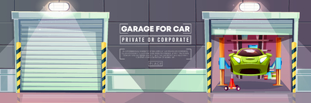 Car garage auto mechanic vehicle lift and roller shutters vector illustration. Modern corporate or private transport service station or parking entry and exit with automatic sectional overhead gate