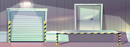 Warehouse with roller shutter entrance door and unloading dock platform. Vector illustration of store storehouse with loader truck entry and sectional overhead gate with lamp illumination