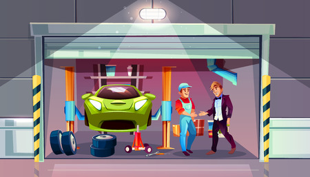 Car garage tire change replacement vector illustration. Mechanic and client shake hands for auto service, interior with car lift, wrench tools and automatic roller shutters Illustration