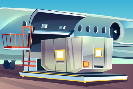 Airplane freight loading vector illustration of air cargo logistics. Aviation container or parcel box on dockleveler pallet loader to cargo hold compartment for international delivery and shipping