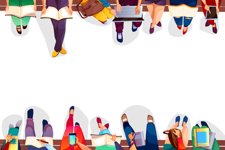 College students sitting on bench vector illustration of university girls and boys with bags, laptops or smartphones and books. Legs top view on white background for back to school design