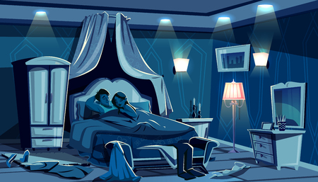 Lovers sleep in bed vector illustration of night bedroom with scattered clothes in passion hurry. Man and woman in embrace under blanket after sex in hotel or apartment room interior Çizim