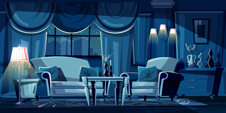 Vector cartoon illustration of dark living room at night. Modern interior with sofa, armchair and decorations. Nightstand with torchiere lamp, window with curtains in moonlight. Concept background.