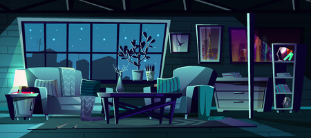 Vector cartoon illustration of modern living room at night. Cozy interior with sofa, armchair and bookcase. Nightstand with switched-on lamp, window with starry night view. Architecture background.