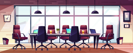 Business meeting room, company boardroom interiour cartoon vector with comfortable armchairs, laptops and coffee cups on long table illustration. Morning meeting, early briefing or informal event in office Ilustracja