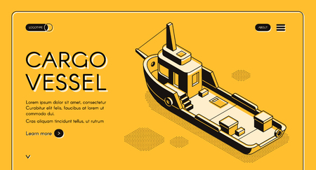 Commercial cargo vessel isometric vector web banner with freight ship or tugboat line art illustration. Maritime transport company, bulk carrying, international shipment service landing page template