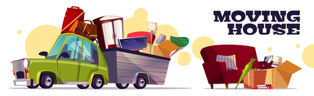 Moving house vector concept with car carrying filled cardboard boxes, baggage, TV and furniture in utility trailer cartoon illustration on white background. Transporting home stuff with own automobile Vecteurs