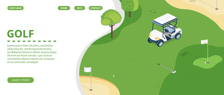 Golf course, country sports club or resort flat vector web banner, landing page with golf cart on green play field, holes with flagsticks and sand traps illustration. Golf tournament web page template