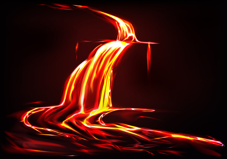 Vector realistic background with lava river, flow of liquid fire in dark. Eruption of volcano, spewing of flames. Dangerous disaster of nature, hot orange magma. Glowing lavafall, hellish ejection. Illustration