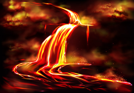 Flow of hot fluid lava, clouds of poisonous smoke and ash, toxic gases explosions during volcano effusive eruption, tectonic activity realistic vector illustration. Natural disaster, geothermal energy Illusztráció
