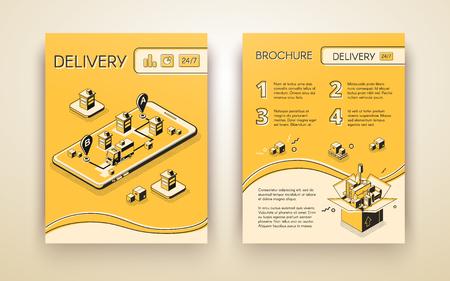 Dostawa biznesowa, logistyczne uruchamianie broszury reklamowej usługi mobilnej, ulotka lub plakat izometryczny wektor graficzny, układ stron z ciężarówką na ekranie telefonu komórkowego przewożący ładunek w mieście