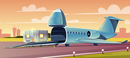 Unloading or loading heavy container on cargo airplane with upped nose in airport cartoon vector illustration. Air freight transportation, global trade delivery service or cargo arline company concept Illustration