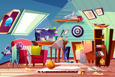 Messy attic kids room interior with uncovered bed, clutter on desk, scattered clothes and toys cartoon vector illustration. Garret bedroom belonging carelessness teenager boy. Cleaning in child room Vettoriali