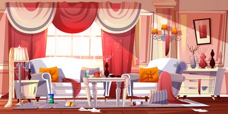 Wohnzimmer im klassischen Provence-Stil mit schrecklichem Durcheinander, voller Trash-Cartoon-Vektorillustration. Luxushotelzimmer, das von Gästen in ekelhaftem Zustand hinterlassen wurde. Unordentliche Hotelkunden. Schmutzige Mietwohnung Vektorgrafik