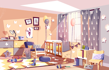 Little child messy room interior with scattered toys and traces of dirty palms on furniture cartoon vector illustration. Chaos in kids bedroom after birthday celebration party. Hyperactive children 写真素材 - 112487381