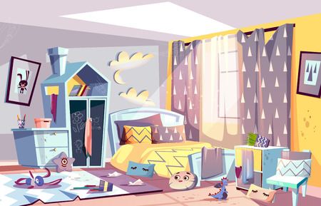 Messy bedroom of lazy child with scattered toys and dirty clothes, stained furniture and capet cartoon vector illustration. Children room interior in terrible chaos. Sloppy, absent minded kid concept Иллюстрация