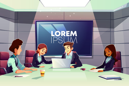 Multinational team of business people working together in office meeting room cartoon vector. Company CEOs, partners or colleagues negotiating, discussing strategy, making presentation in boardroom