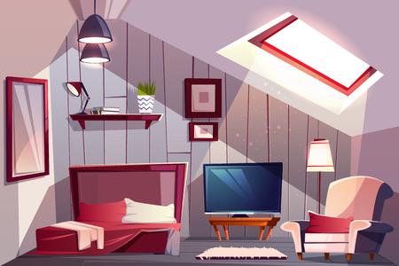 Przytulna sypialnia na poddaszu lub wnętrze pokoju gościnnego z odkrytym łóżkiem, klasycznym fotelem i telewizorem kreskówka wektor ilustracja. Wygodne apartamenty na poddaszu lub pokój hotelowy. Dom na poddaszu ze spadzistym dachem