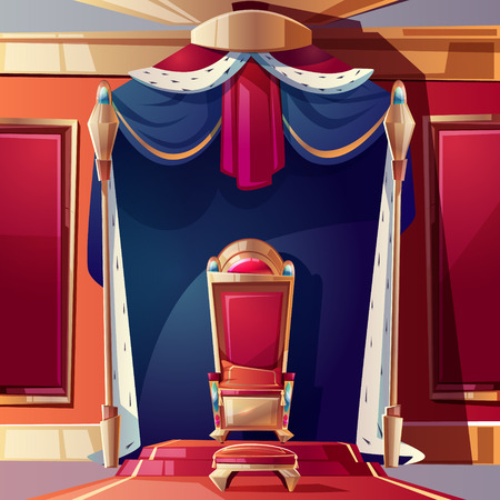 Golden kings throne inlaid with gems, ottoman and pillow on seat, standing on pedestal in ballroom or castle throne room cartoon vector illustration. Fantasy game design element. Monarchy power symbol
