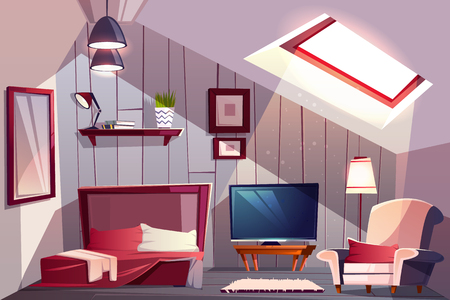 Cozy attic bedroom or guest room interior with uncovered bed, classic armchair and TV set cartoon vector illustration. Comfortable loft apartments or hotel room. House mansard floor with sloping roof