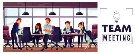 Business startup team meeting cartoon vector concept with entrepreneurs or office workers multinational characters working together, discussing plans, brainstorming business ideas in conference room Stock Photo