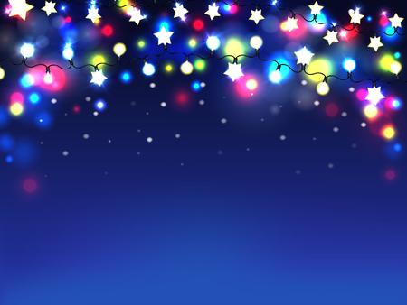 Realistischer Vektorhintergrund oder -tapete der schönen Feiertagsbeleuchtung. Helle Girlande mit glänzenden Glühbirnen auf Schnur, leuchtende verschiedene Farben flares 3D-Darstellung. Weihnachtsbeleuchtung, Partydekoration