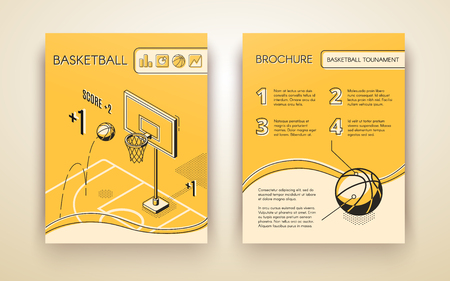 Basketball tournament promotional brochure or advertising flyer line art, isometric vector design template with ball jumping in hoop on basketball court illustration. Sport club, game match ad flyer Иллюстрация