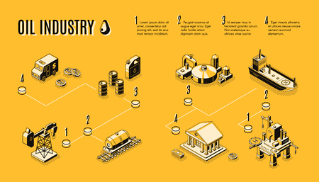 Oil industry, petroleum production process components line art, isometric vector concept. Petroleum extraction and refining, fuel transportation from drilling rig to plant and oil market infographics Ilustracje wektorowe