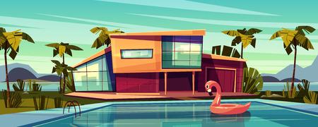 Villa de luxe sur la côte, résidence étrangère dans un pays exotique, manoir coûteux en illustration vectorielle de dessin animé des tropiques. Extérieur de maison haut de gamme avec anneau de bain gonflable flamant rose dans la piscine