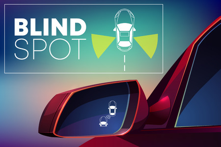 Blind spot assist cartoon vector concept. Danger warning alert visual signal icon in car rear view mirror. Radar sensor for road situation monitor. Modern vehicle safety, crash prevention technology 写真素材 - 127259871