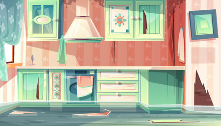 Vector cartoon background with provence room, the flood in dirty kitchen. Leak of water, black mould on walls, disaster at home. Retro style of wooden furniture, vintage flat with stove, cupboard.