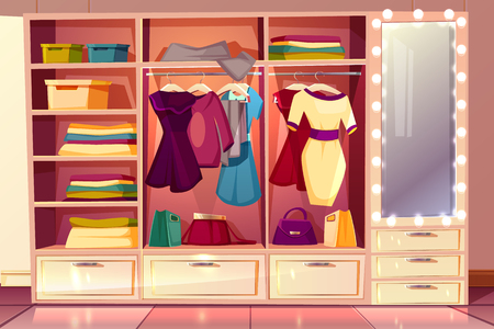 Vector cartoon dressing room of a woman. Wardrobe with clothes, hangers with costumes and big illuminated mirror. Bright background with cloakroom, boxes and purses. Interior of checkroom. Illustration