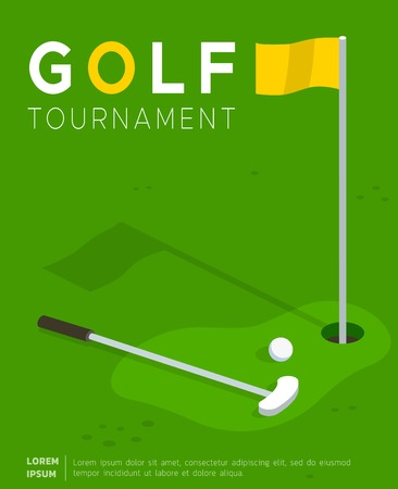 Golf tournament flat vector promo poster or invitation flyer template. Putter golf club and ball lying on field lawn near flag in hole. Sport competition, international cup advertising leaflet design Illustration