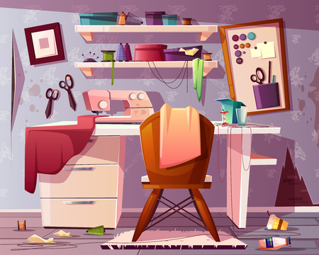 Vector background of dirty tailor room, handicraft or needlework area with trash, rubbish. Mess in studio of a seamstress. Sewing machine, tools and furniture. Dressmaker place, designer of clothes.
