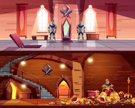 Vector throne room with hatch to vault. Cellar with king on pile of gold, coffers. Background with guards, castle hall cross-section. Interior of ballroom, luxury medieval palace for game backdrop.