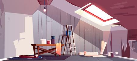 Notion de vecteur de réparation de grenier. Rénovation de pièce en bois sous un toit. Plateau avec peinture, rouleau à cylindre et escabeau. Équipement pour tapisser. Le renouveau du loft, une mansarde d'époque avec fenêtre. Vecteurs