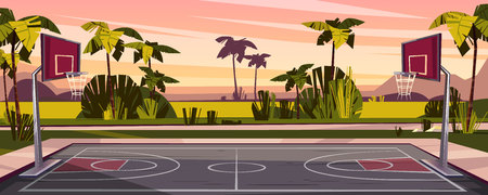 Vector cartoon background of basketball court on street. Outdoor sport arena with baskets for game. Playground for competition, championship. Backdrop with tropic palms, sunset sky and green field. Ilustração
