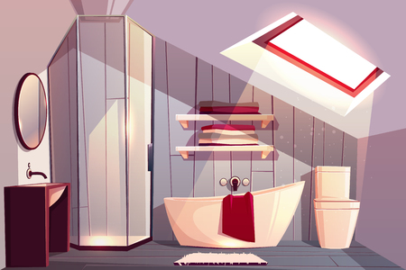 Vector interior of bathroom in attic. Modern restroom with glass shower cabin and shelves for towels. Sunlight shines from window to bathtub. Comfortable garret with faucet, rug and other furniture. Illustration
