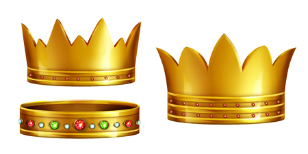 Set of royal golden crowns decorated with gems realistic 3d vector isolated on white background. King or queen precious insignia. Historical ancient artifact. Monarchy power, triumph or victory symbol